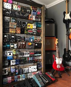 Who needs a pedal board when you can have a pedal WALL? Guitar Effects Pedals, Guitar Pedals, Diy Guitar Pedal, Home Music, Music Studio Room, Home Studio Setup, Music Rooms, Studio Interior, Distortion Guitar