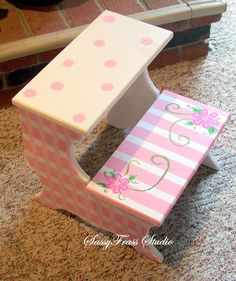 Children's Hand Painted Pink and White Girls Step Stool