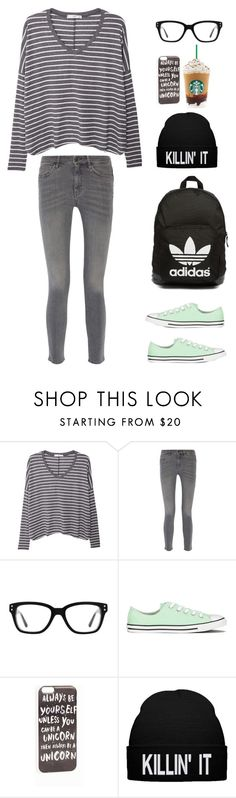 """""""School"""" by littlepumpkinelf ❤ liked on Polyvore featuring MANGO, MiH Jeans, Converse, JFR and adidas Originals"""