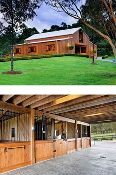 A Stunning Barn in Australia - STABLE STYLE A beautiful barn in Australia features a stunning cedar exterior and a spacious barn apartment on the inside. Learn more on Stable Style. Farm Plans, Barn House Plans, Horse Stables, Horse Barns, Horse Farms For Sale, Horse Barn Designs, Barn Stalls, Horse Barn Plans, Barn Apartment