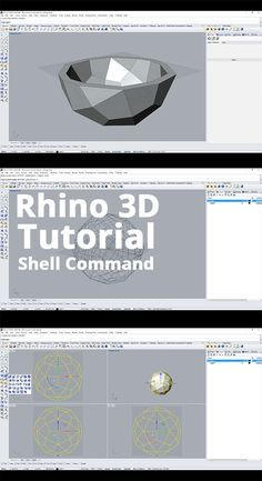 The shell command in Rhino is a great tool that can cut a workflow in half. It's a way of creating complex shells and containers with particular thicknesses without having to model the geometry from curves and surfaces. Rhino Tutorial, Zbrush Tutorial, 3d Tutorial, Rhino Architecture, Rhino Cad, Grasshopper Rhino, 3d Models, 3d Prints, 3d Max