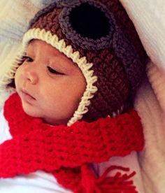 Aviator Hat Scarf set brown pilot hat costume newborn baby toddler boy girl photo prop crochet knit earflap hat airplane goggles