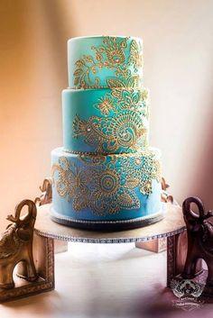 Indian wedding cake - love the paisley design