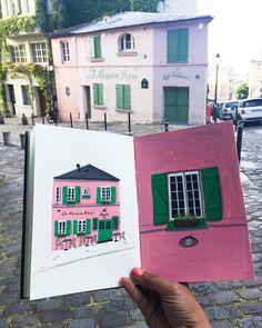 "337 Me gusta, 15 comentarios - Parul Arora / Illustrator (@justnoey) en Instagram: ""Throwback to summer days in Montmartre, Paris! Ahhh more pink buildings please! . . . . .…"""