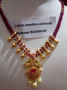 1 Gram Gold Jewellery, Gold Jewellery Design, Bead Jewellery, Beaded Jewelry, Jewellery Making, Pendant Jewelry, Jewelery, Gold Jewelry Simple, Mom Jewelry