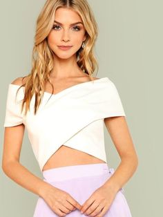 Cross Wrap Bardot Top -SheIn(Sheinside)