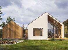 White Exterior Houses, Bungalow Exterior, Modern Farmhouse Exterior, Dream House Exterior, Scandinavian Architecture, Scandinavian Home, Architecture Design, Gable House, House Cladding