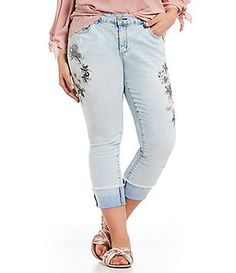 Jessica Simpson Plus Forever Floral Rolled Ankle Jeans Image