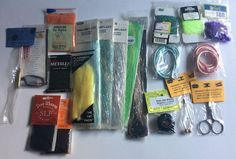 LOT OF FLY TYING MATERIAL 21 PIECES DUBBING TOOLS CORD TURKEY BIOT FLASHING