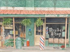 The old barber shop...building (along with Washington Seed and Feed) now houses the Springville Antique Mall....painting by Clay Allison