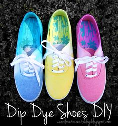 If you haven't already noticed, the latest trend in fashion is ombre dyeing!  The slight color shift from light to dark is capturing the eye of fashionistas and home décor enthusiasts alike. We decided to take a step into this trend by dyeing a few pairs of simple white kicks.  We love how bright and fun they turned out!
