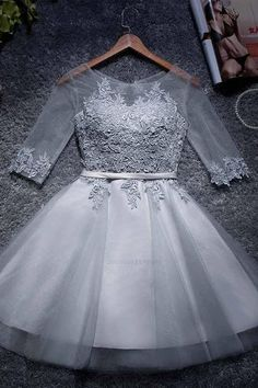 Discount Admirable Prom Dresses Short A-line Tulle Homecoming Dresses Scoop Short/Mini Prom Dresses Junior Homecoming Dresses, Mini Prom Dresses, A Line Prom Dresses, Quinceanera Dresses, Wedding Dresses, Dress Prom, Grey Party Dresses, Casual Dresses, Formal Dresses