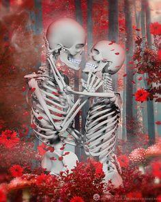 Sanguine Forest of Love Skeleton Love, Skeleton Art, Art Of Dan, Badass Skulls, Dark Fairytale, Skeleton Tattoos, Macabre Art, Dark Art Drawings, Skulls And Roses