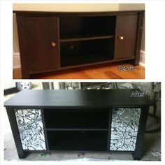Before and After refurbish. Tv stand only $25 on craigslist. Total Cost under $40!! Sorry I don't blog but instructions follow.  1. Primed with 2 light coats of Rustoleum spray primer in Black.   2. Painted with 2 light coats of Krylon spray paint in Oil Rubbed Bronze (it's a fancy black).    3. Removed doors and used Dollar Tree Super Glue to glue on broken mirror pieces. Let sit at least 8 hours.     4. Karacualk (unsanded) in Black in between mirror (apply like you're applying grout to… Broken Mirror Diy, Broken Mirror Projects, Broken Glass Crafts, Mirror Tv Stand, Mirror Art, Diy Mirror, Tv Stand Makeover, Diy Tv Stand, Diy Furniture Projects