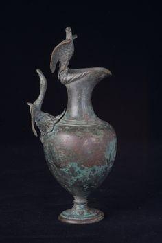 Bronze Ewer with Bird Finial and Handle - BF.010 Origin: Mediterranean Circa: 300 BC to 300 AD