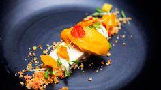 Mango Sorbet with Vanilla Yoghurt Parfait by Georgia Barnes - Masterchef Australia 2015 Mango Sorbet, Mango Cream, Mango Puree, Ice Cream, A Food, Food And Drink, Food Art, Masterchef Recipes, Masterchef Australia