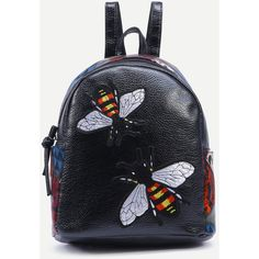 Black Bee Patch Animal Print Backpack (335 UAH) ❤ liked on Polyvore featuring bags, backpacks, black, animal print bags, bumble bee bags, polyurethane bags, bee bags and backpack bags