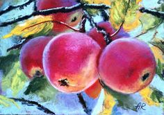 """""""Apples"""" by Alena Rumak. Pastel drawing on Panel / Board / MDF, Subject: Flowers and plants, Impressionistic style, One of a kind artwork, Signed certificate of authenticity, This artwork is sold unframed, Size: 17.78 x 12.7 x 0.48 cm (unframed), 7 x 5 x 0.19 in (unframed), Materials: unison soft pastel, pastelbord"""