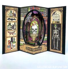 Best 12 Stamptramp: Rare Oddities Pop-Up Tunnel Card; Halloween Paper Crafts, Halloween Art, Handmade Halloween Cards, Halloween Design, Fancy Fold Cards, Folded Cards, Pop Up Tunnel, Tunnel Book, Pop Up Karten
