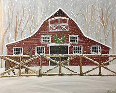 Christmas Town, Christmas Scenes, Country Christmas, Christmas Art, Xmas, Cottage Christmas, Christmas Tables, Christmas Holidays, Barn Art