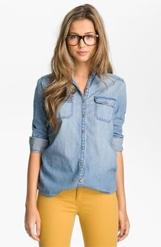 Yay for Chambray and Sunflower-Yellow Pants! I Absolutely ADORE the color combo; I`M OBSESSED :) ======== Rubbish® Chambray Boyfriend Shirt (Juniors) available at Nordstrom Color: Medium Dark Wash Jean Outfits, Casual Outfits, Cute Outfits, Colored Jeans Outfits, Hipster Outfits, Colored Denim, Casual Clothes, Summer Clothes, Casual Shirts