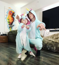 To much cuteness. Logan Paul and Everly in matching unicorn onesies!!