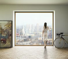 """Urban living. This window is like a beautiful work of art on the wall...Dutch firm Powerhouse Company has unveiled plans for a high-rise apartment block in Rotterdam, which could become """"the slimmest residential tower of Europe""""."""