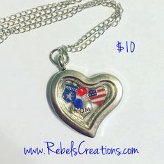 America USA Police Mom Wife Family Military PMO Floating Charm Necklace - pinned by pin4etsy.com