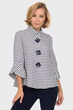 Joseph Ribkoff Navy/Off-White Jacket Style 191917 Off White Jacket, Striped Jacket, Blouse Styles, Blouse Designs, Mode Outfits, Casual Outfits, Look Fashion, Womens Fashion, Fashion Trends