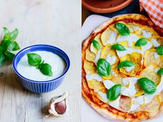 Vegan pizza with vegan sause   creamy oats    iMat Fraiche    Oatly    Pizza med gulbeta, basilika & kapriscréme   Vegoteket