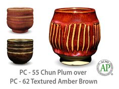 AMACO Potter's Choice layered glazes PC-62 Textured Amber Brown and PC-55 Chun Plum.