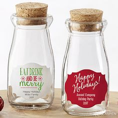 Loose tea, ground coffee, nuts, or little treats can all get dressed up for the holidays with personalized milk jars!