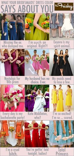What Your Bridesmaids' Dress Color Says About You