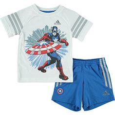 White Captain America Tee & Trousers Set