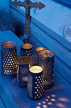 Old Grater Tea Lights