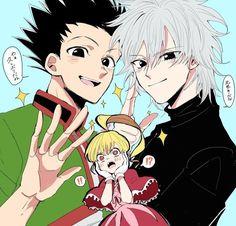 Gon Freecss, Killua Zoldyck and Biscuit Krueger Otaku Anime, Anime Boys, Manga Anime, Hunter X Hunter, Hunter Anime, Hisoka, Gon Killua, Fanarts Anime, Anime Characters