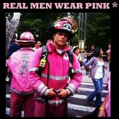 Men in pink and Breast Cancer Awareness Fire Fighters