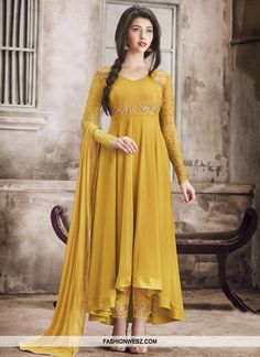 Innovative Faux Georgette Asymmetrical Anarkali Salwar Kameez For Ceremonial