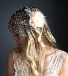 Blush White Ivory Flower Bridal Fascinator by LottieDaDesigns