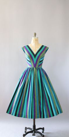Vintage 50s Anne Fogarty turquoise, blue, green, purple and black striped cotton dress. Thick, really good quality, crisp cotton! V-neck and