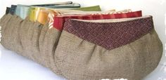 Burlap Clutches – A Great Gift in 15 Colors and Patterns! at VeryJane.com see you can mix country burlap and shiny glam materials and get rustice elegance--best of both worlds. Burlap Bags, Jute Bags, Patchwork Bags, Quilted Bag, Diy Purse Tutorial, Pom Pom Purse, Fabric Handbags, Striped Canvas, Bag Patterns To Sew