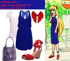 Like Sailor Moon Outfits on Facebook! Forever 21 essential scoop neck tee in White Wilfred Victoire dress in Celestial Red Herring purple heart quilted tote bag Envy cerise wedge sandal in Red Luna Bowtique Love Red senshi bow