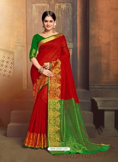 Buy Latest Stylish Red Color Jacquard Silk Designer Saree Online in India Shop Latest Collection of Bridal Sarees all style available at VJV Fashions. Art Silk Sarees, Georgette Sarees, Traditional Fashion, Traditional Sarees, Fancy Sarees, Party Wear Sarees, Ethnic Fashion, Indian Fashion, Modern Fashion