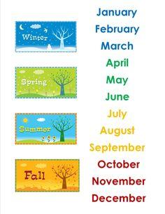 The Idea Cubby: The Calendar Months – School Calendar İdeas. Learning English For Kids, English Lessons For Kids, Kids English, English Language Learning, Teaching English, Learn English, Teaching Weather, Preschool Weather, School Calendar