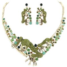 EVER FAITH® Halloween Claw Skull Necklace Earrings Set Green Austrian Crystal Gold-Tone -- Remarkable product available now. : Fashion Jewelry