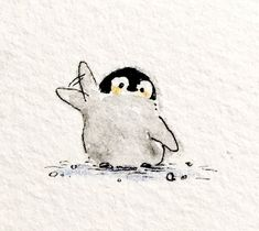 Pinguin Illustration, Illustration Art, Cute Animal Drawings, Cute Drawings, Penguin Art, Penguin Drawing, Penguin Tattoo, Cute Penguins, Cute Doodles