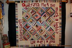 Selvedge Yard - what fun!!  Used Tonya Ricucci's [lazygalquilting] Unruly alphabet to write:  Quilting: not so much a hobby, you know, more like an infectuous obsession, and we love it sew! [some words are quilted in the open spaces]