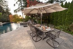 The Bissell Landscape Outdoor Pool - Designed by Paradise Restored Landscaping & Exterior Design of Portland, Oregon. See our website Portfolio Outdoor Pavilion, Outdoor Pool, Outdoor Spaces, Outdoor Living, Backyard Patio Designs, Patio Ideas, Outdoor Ideas, Rustic Outdoor Fireplaces, Patio Makeover