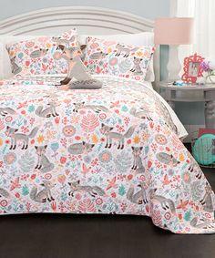 Look at this #zulilyfind! Gray Pixie Fox Quilt Set #zulilyfinds
