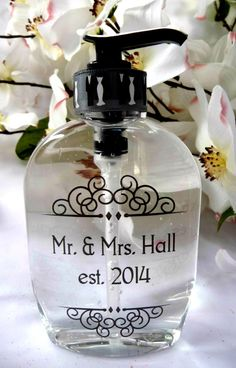 Personalized Mr. and Mrs. Soap Dispenser ~ His and Hers ~ Gifts for Newly Weds ~ Anniversary Gifts